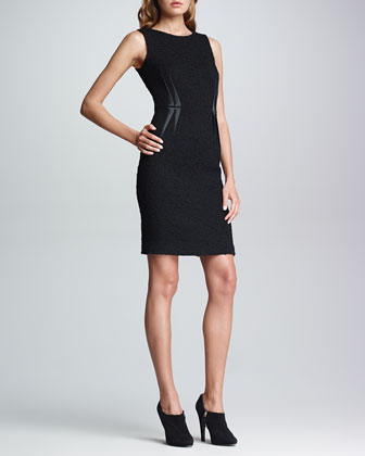 Satin-Darted Boucle Dress, Black