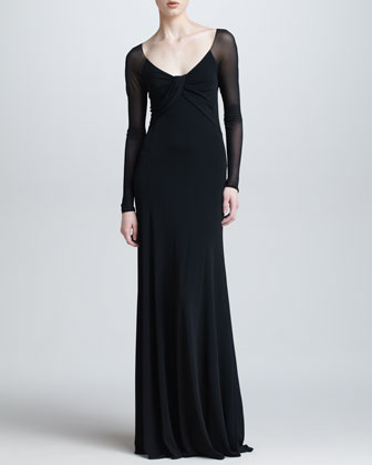 Sheer Long-Sleeve Gown, Black