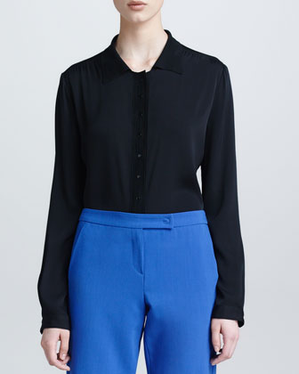 Jersey-Collar Long-Sleeve Silk Blouse