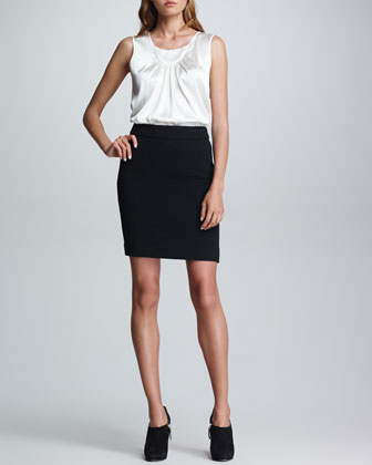Fitted Matelasse Skirt, Black