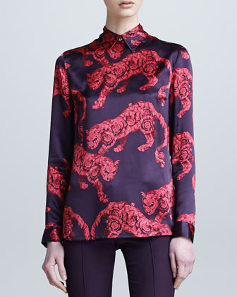 Long-Sleeve Printed Blouse, Double-Breasted Jacket & Fitted Pants