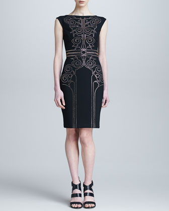 Sheath Dress with Baroque Crystal Beading