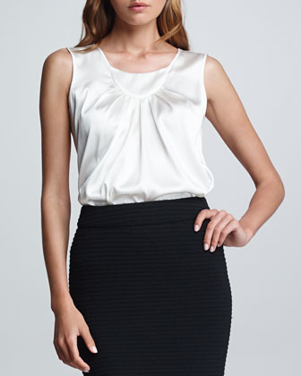 Sleeveless Charmeuse Blouse, Ice