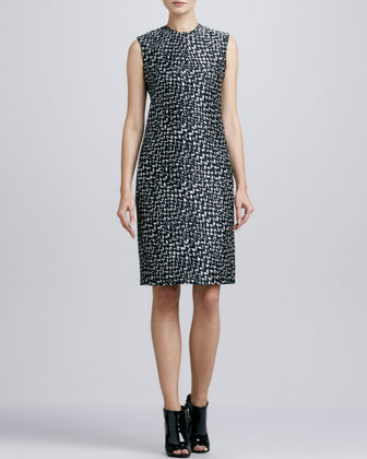 Print Taffeta Sheath Dress
