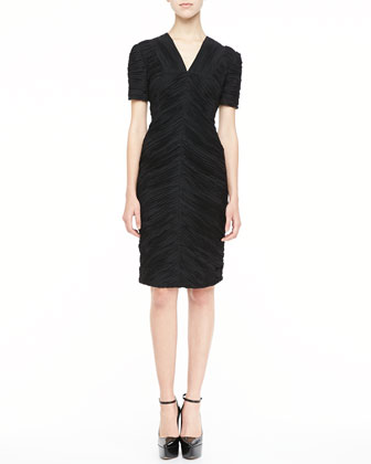 Short-Sleeve Ruched Dress, Black