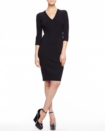 Acrylic Gauge Knit V-Neck Dress