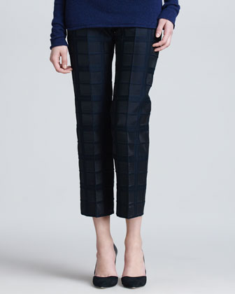 Jacquard Plaid Ankle Pants