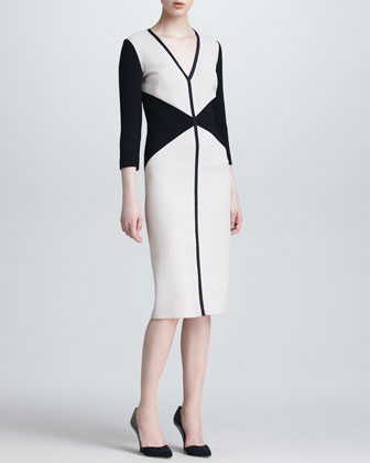 Colorblock V Neck Dress