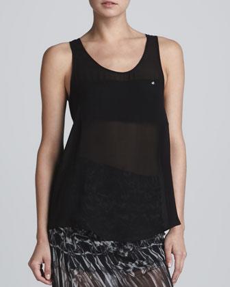 Sheer Silk Tank Top, Black