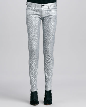 Metallic Jacquard Slim-Fit Jeans, Silver