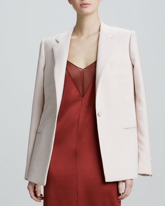 One-Button Virgin Wool Blazer, Blush