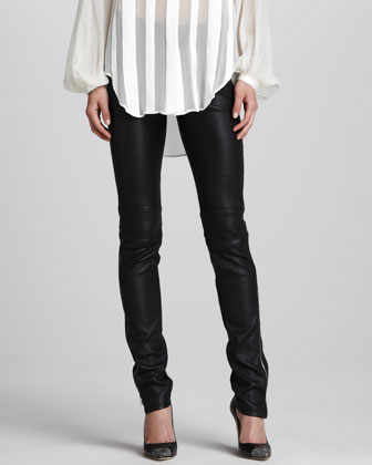 Skinny Stretch Leather Pants, Black