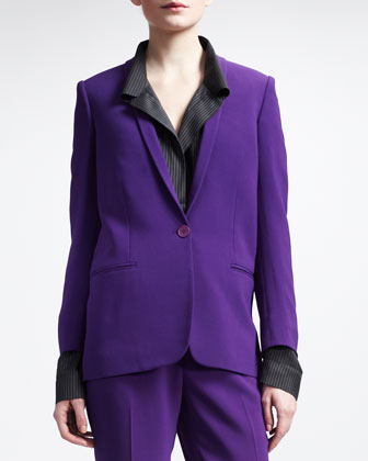 One-Button Shawl-Collar Suit Jacket