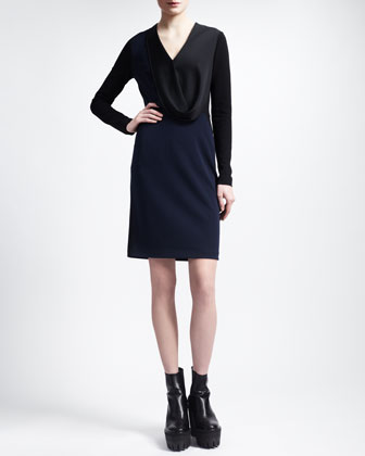 Bicolor Draped-Front Dress, Black/Midnight