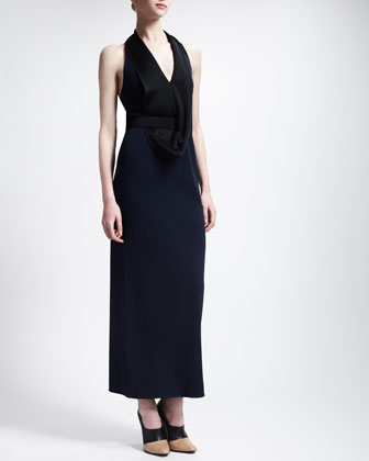Bicolor Halter Gown with Draped Neck, Midnight