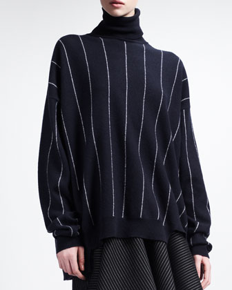 Turtleneck Sweater with Intarsia Stripes