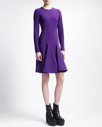 Stretch Cady Trumpet-Skirt Dress, Violet