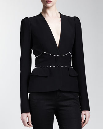 Plunge-Neck Cathedral-Bead Jacket, Black