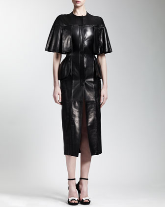 Cape-Sleeve Leather Dress, Black