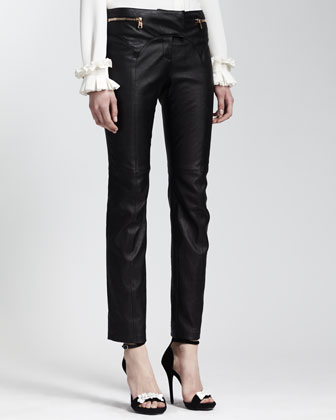 Leather Zip-Pocket Pants, Black