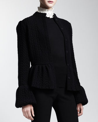 Diamond-Knit Peplum Jacket, Black