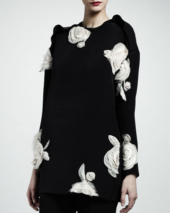 Rose Applique Tunic, Black