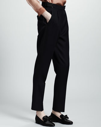 Pleat-Front Wool Trousers, Navy