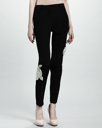 Rose Applique Pants, Black