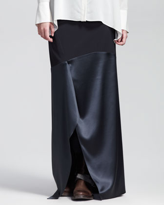 Paneled Wool-Satin Long Skirt