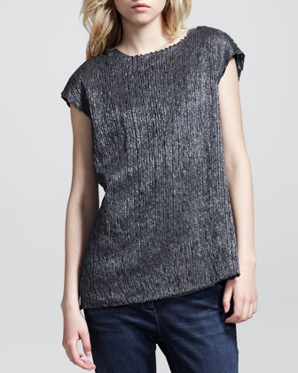 Cap-Sleeve Metallic Ribbon Pullover