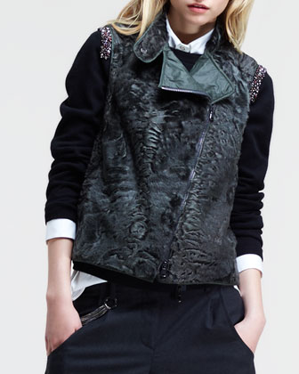 Asymmetric-Zip Fur Vest
