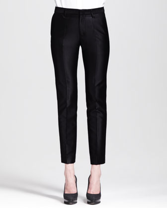 Paolo Slim Creased Ankle Pants, Black