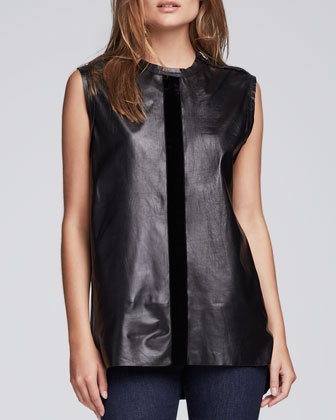 Silk-Trim Leather Tank, Black