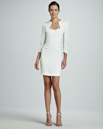 Limited Edition Helena Origami Long-Sleeve Dress, White
