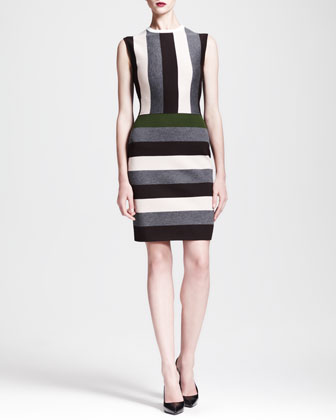 Multi-Stripe Cap-Sleeve Dress
