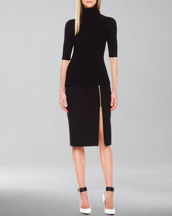 Zip-Hem Pencil Skirt