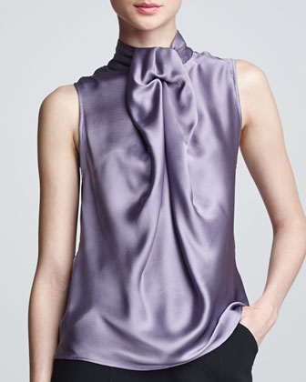 Sleeveless Silk Blouse, Mauve