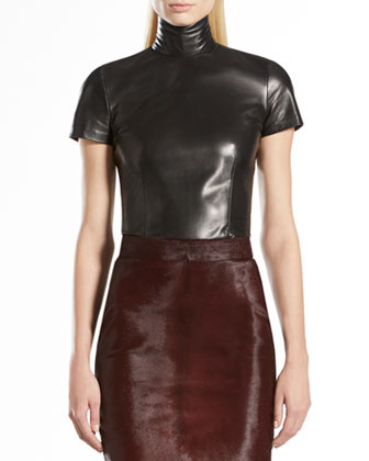 Leather High-Neck Top