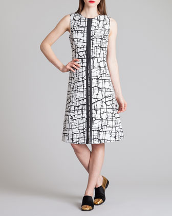 Cracked Ice Printed A-Line Dress