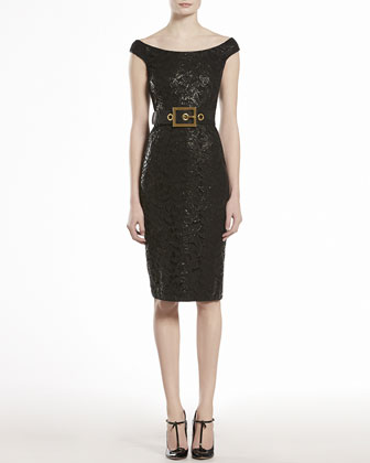 Lacquered Lace Shift Dress, Black