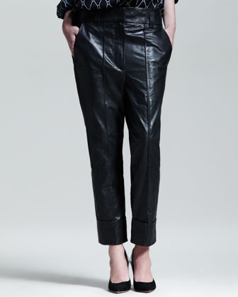 Slouchy Cuffed Leather Pants