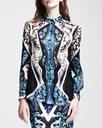 Printed Sheer-Panel Blouse