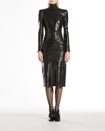 Crackled Patent Leather High-Neck Dress
