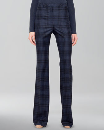 Plaid Wool Flannel Pants, Denim/Black