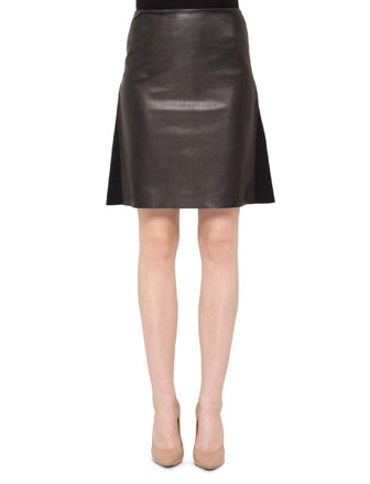 Pleat-Back Combo A-Line Skirt