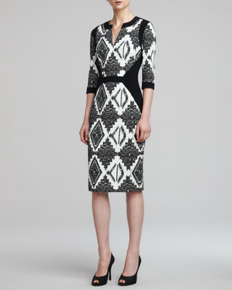3/4-Sleeve Mixed-Print Cady Dress