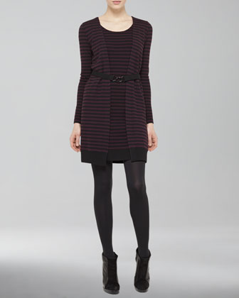 Striped Dress-Cardigan Twinset