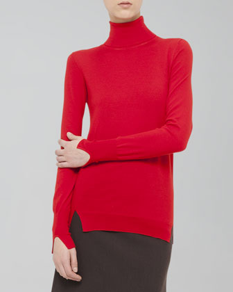Slit-Trim Turtleneck Sweater
