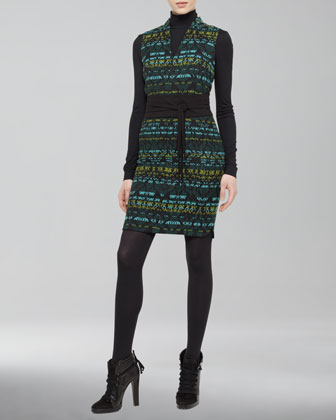 Cotton-Blend Jacquard Dress, Black/Turquoise