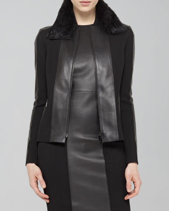Faux-Leather-Trim Blouson Jacket, Black